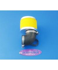 Filtro aria a 90° per carburatori d.28- giallo