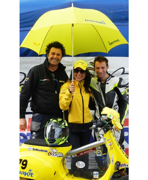 Umbrella yellow logo PK blue