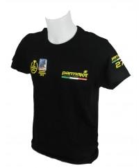 T-shirt manica corta +Bandiere ITALIA girocollo  personalizzata logo PARMAKIT su taschino, schiena, maniche + bandierine