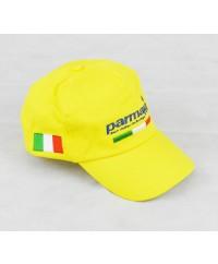 Cappellino Giallo+scritta Parmakit blu+bandiere