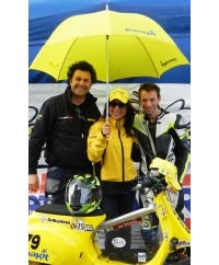 Umbrella yellow logo PK blue